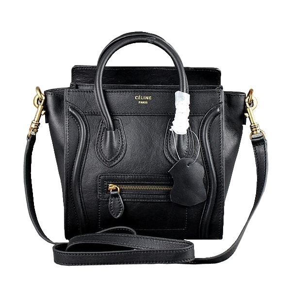 Celine Nano Luggage Boston Black Smooth Leather Messenger Bag 1